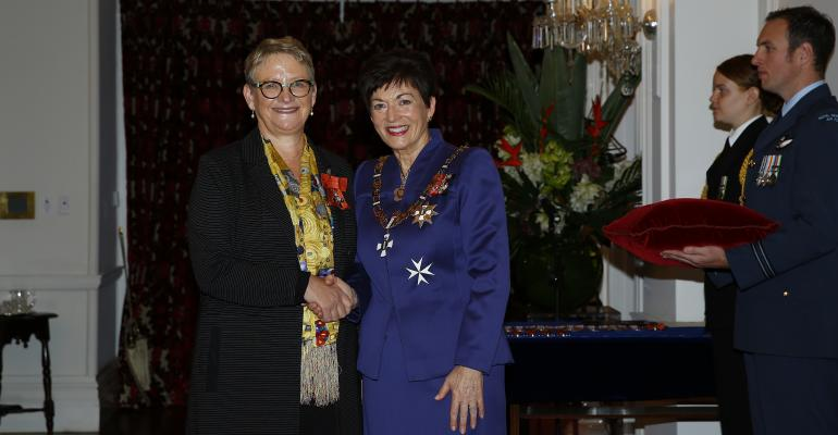 Hero image Sally with Dame Patsy Reddy at her MNZM investiture May 2018. 0